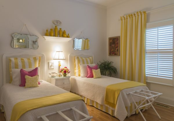 Single and double bed guest bedroom