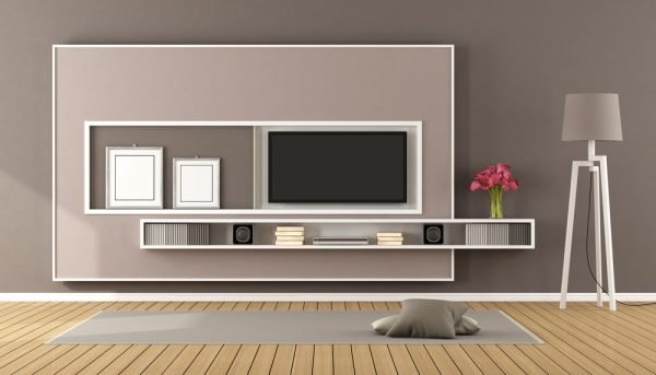 TV unit with picture and frame