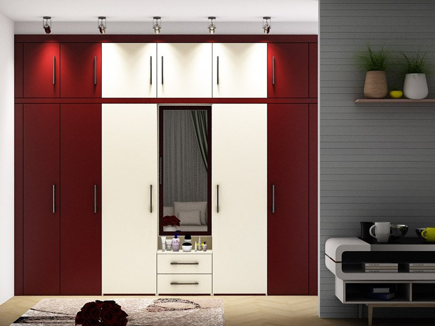 Red and Wine Wardrobe Designs