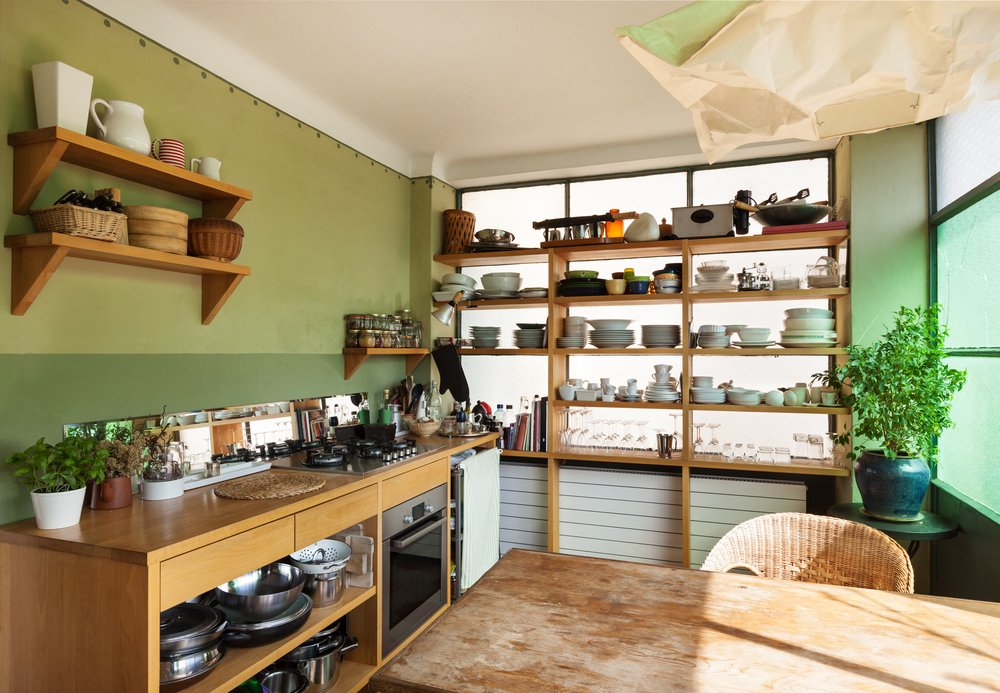 organised kitchen without cabinets