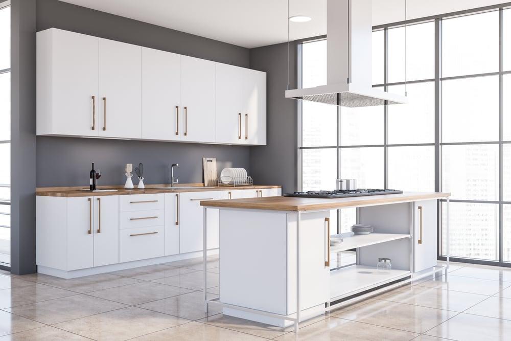 white colour kitchen island
