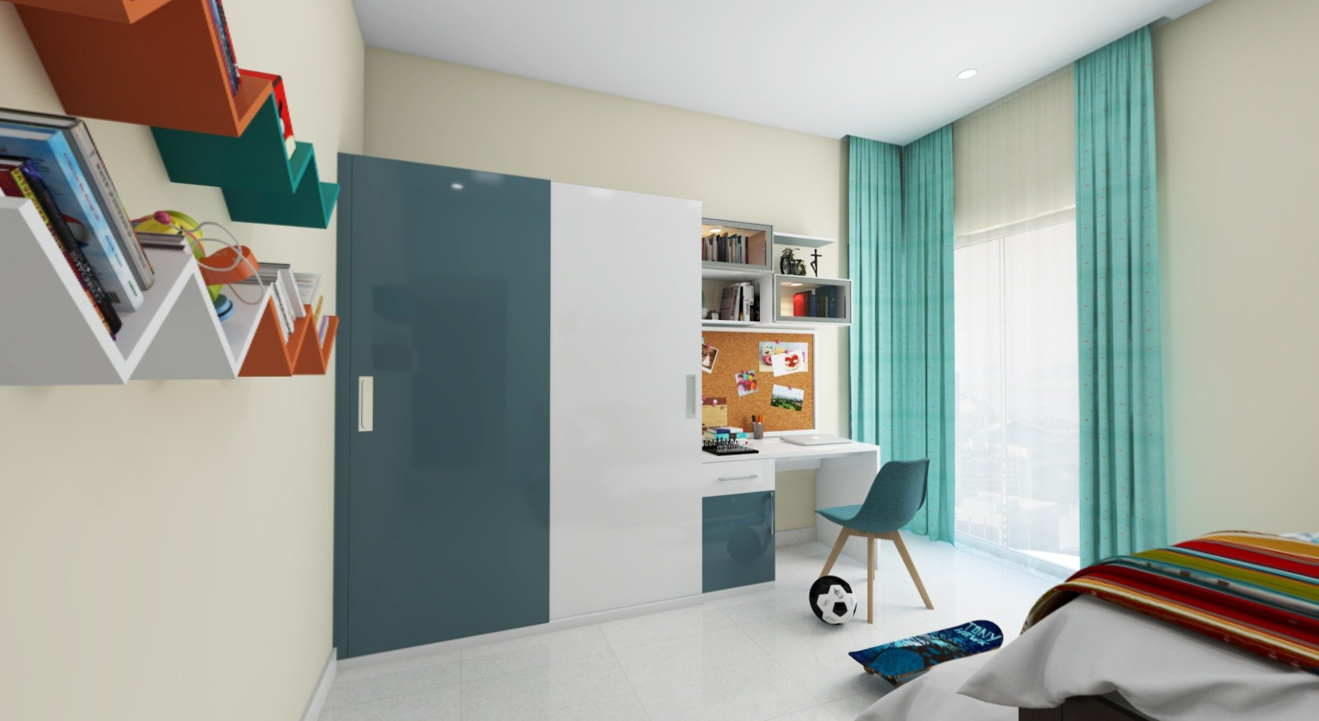 white and teal blue high gloss wardrobe