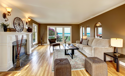 chocolate brown and beige living room